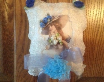 6 inch lavender scented sachet in white with image of Victorian lady in blue
