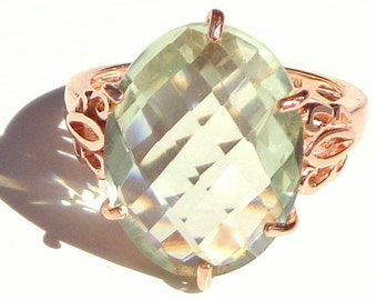Sz 7, Victorian Design, Solid 10K Rose Gold, Green Amethyst, Filigree Ring, Engagement, Wedding, Promise Ring