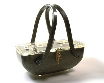 Vintage 1950s Large Carved Lucite Original Rialto New York Purse Bag Gray Marble Bottom Clear Top