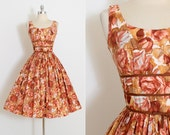 Vintage 50s Dress | vintage 1950s dress | Jerry Gilden rose print cotton | xs/s | 5850