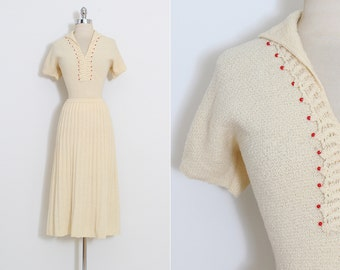 Vintage 40s Knit Set | vintage 1940s skirt & top dress | red beads | xs s m | 5884