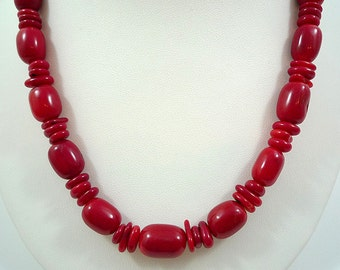Red Coral Necklace Bright Red Coral Necklace Red Bamboo Coral Necklace Coral Beach Necklace Bright Red Coral Strand Coral Necklace Red