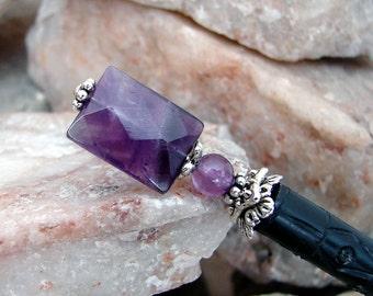 Simple Faceted Amethyst Hair Stick Deep Purple Japanese Geisha Hair Sticks Dark Purple Hairstick Kanzashi Hair Pins Hair - Verta