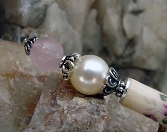 White Pearl and Pink Rose Quartz Japanese Hair Stick Floral Hair Accessories Sterling Chignon Pin Haarstab Kanzashi Hair Pins Pic – Lulu