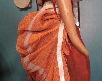 Orange and cream blockprint Sari bustle, one size,  steampunk, victorian, bellydance
