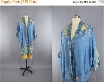 SALE - Vintage 1920s Silk Kimono Robe / 1930s Dressing Gown / 20s Art Deco Lingerie / 30s Boudoir Wrapper / Sky Blue and Yellow Floral Print