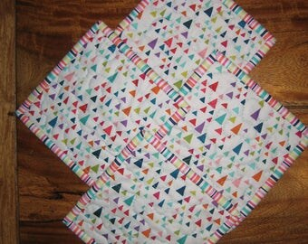"""Fabric Coasters, Multi colored Triangles, Stripes and Leaves, Reversible Drink Mats, 5x5"""""""
