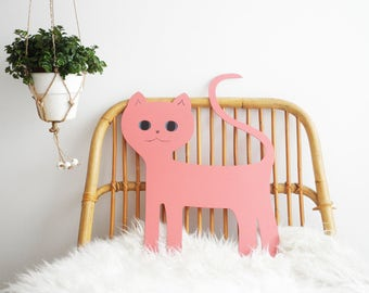 Pink Cat. Wall hanging Cat. Magnetic Cat. Magnetic board. Gift for catlovers. Nursery decor. Kids room decor. Animal decor. Cat decor.