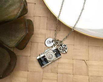 Camera Necklace, Initial Necklace, Heart Necklace, Hand stamped Necklace, Friendship Necklace, Handmade Jewelry, Gift for Her