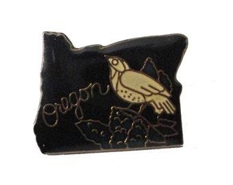 OREGON State vintage lapel cloisonne enamel pin OR landscape bird flower