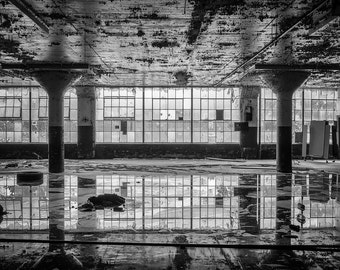 Dark Reflection, Black and White Photography, Abandoned Factory - 12x18 Fine Art Print on Aluminum