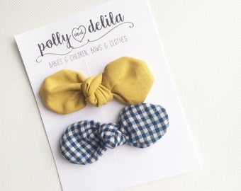 mustard and navy gingham knot bow clip set