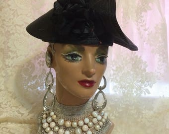 Stunning Synthetic Black Straw Hat