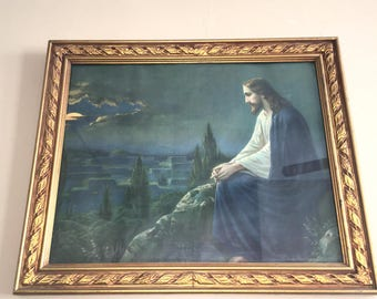 1920s Jesus at The Mt. Olives in Beautiful Frame