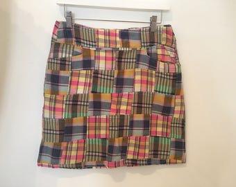 Vintage Eighties Preppy Madras Plaid Patchwork Mini Skirt