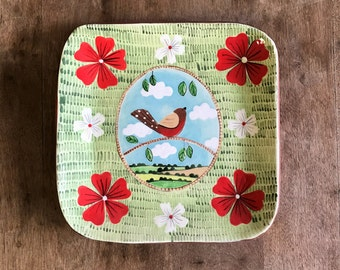 English Robin in the Countryside Square Plate