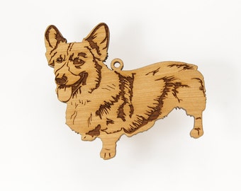 Corgi Ornament from Timber Green Woods. Made in the U.S.A! - Personalize with Name Engraving. Cherry Wood - (Standing Corgi)