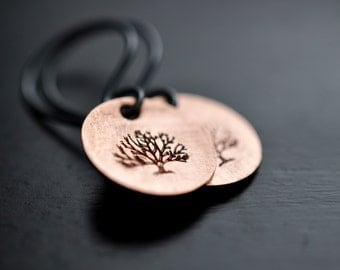 Copper Tree of Life Earrings, Sterling Silver Earwires, Handstamped Earrings