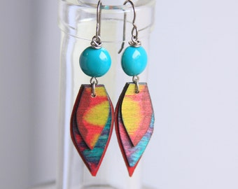 SURFER GIRL / Wood Earrings / Acrylic Painting / Women's Jewelry / Art / Sustainable / Gifts for Her / Organic Jewelry / Earrings