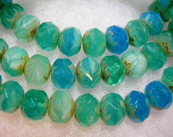 25 8x6mm Reflecting Pool - a Blend of Aqua and Teal Czech Fire polished Picasso Rondelle beads