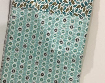 Quilt Baby Gender Neutral Organic Fabric Teal Aqua White Black Boy Girl Bedding Crib Blanket
