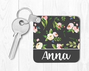 Keychain Monogrammed Key Chain Realtor Gift Housewarming Gift Personalized Keychain Floral Keychain Custom Keychain Grey Pink