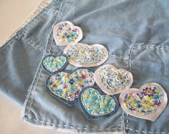 BORO Slow Stitch Patches, Tiny Floral Hearts, set of 7