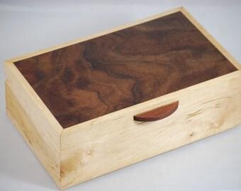 """Fantastically Figured Walnut &  Maple  jewelry Box 10"""" x 6"""" x 3 1/2"""