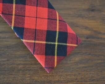 Skinny tie red plaid tartan 1950s 1960s