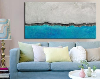 Blue Large Abstract Painting, Original Painting, made to order custom size, Sea ocean painting, seascape vibrant blue art, water painting