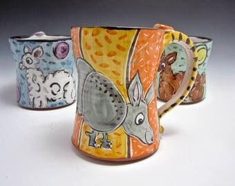 Large Ceramic Coffee Mug - Gray Armadillo - 16 ounce Mug - Majolica Pottery Mug - Gift for Him Her - Southwestern - Tea Cup - Beer Stein