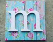 Aqua and Pink, Nursery Decor, Wooden Letters for Wall, Vintage Roses, Cottage Chic, Baby Name Decor, Girls Nursery, Baby Girl Bedroom