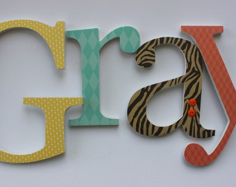 Baby Boy Wooden Letters, Safari, Wood Wall Name Sign, Animal Prints, Jungle Room Theme Decor, Brown Orange Aqua Yellow
