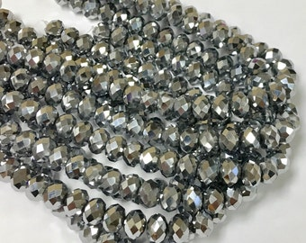 Metallic Silver Chinese Crystal Beads, 8X5mm, 8 inch Strand, Crystal, Beads for Jewelry Making, Rondelle Crystals