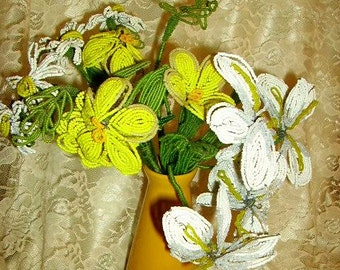 Vintage French Beaded Flowers, Yellow White Flowers, Large French Beaded Flowers