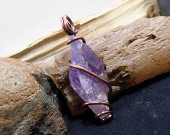 Amethyst Crystal Point Antique Copper Wire Wrapped Natural Rough Pendant 01