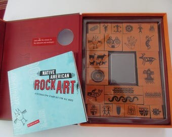 vintage Native American Rock Art stamp set - 24 stamps, petroglyph stamp kit, activity book