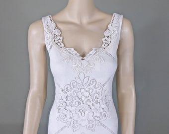 Bohemian Wedding Dress IVORY Lace Wedding Dress UNIQUE Wedding Dress Backless Handmade One of a kind Sz Medium