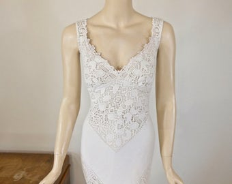 MERMAID Lace Wedding Dress Boho Wedding Dress Backless Dress Vintage Inspired Wedding Dress BOHEMIAN Wedding Dress Handmade Sz Medium