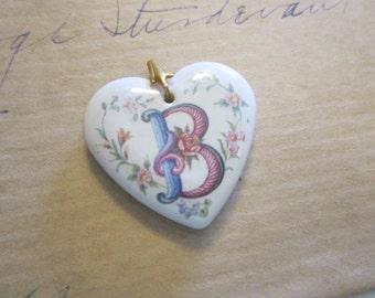 vintage AVON ceramic heart initial pendant - letter B heart pendant