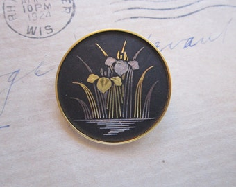 vintage AMITA damascene brooch - IRIS brooch - floral brooch - black, silver and gold