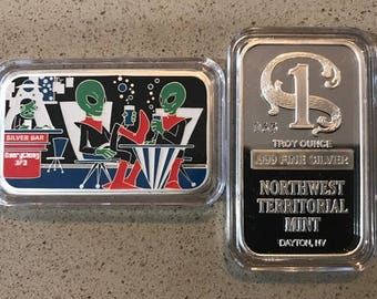 Silver & Enamel 1 oz Art Bar,By Everything UFO. 80.00