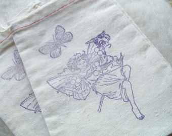 Close Out Muslin Pouch Vintage Fairy, Small Drawstring Pouch Small Stamped Pouch, Party Favors, Set of 2