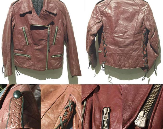 Vintage Woman's RUHR Double Rider Biker Motorcycle leather Jacket Made in Germany (LG-1)