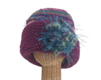 Knit Hat Womans Flower Cloche Plum Wool Hat Wide Brim Hat Flower Hat Knit Brooch Hand Knit Hat One Size Hat Woman's Hat