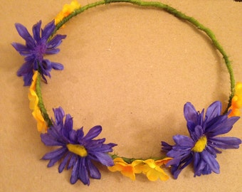 Blue Daisy hair wreath -  Blue Violet hair wreath