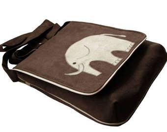 Elephant Themed Crossbody Bag with Flap, OOAK Messenger Bag, Bike, Eco Suede Vegan Bag, Flap Cover Bag, Adjustable Strap, Bag For Cyclist