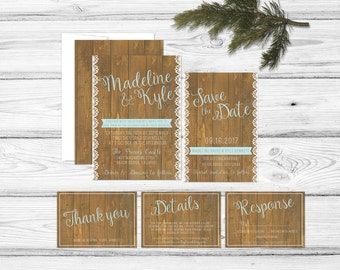 Rustic Woodgrain Wedding Invitation Country Chic Country Wood Modern Calligraphy Customize Barn Woodsy Wooden