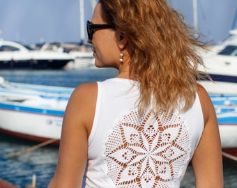 White Tank Top with upcycled vintage crochet doily back - Size L-XL