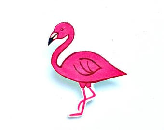 Flamingo Brooch, Flamingo Badge, Birds, Pin, Pink, Shrink Plastic, Gift for Her, For Mum, Jewellery, Mother's Day
